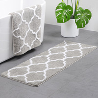 Best Selling Water absorbing Nordic Wind Crown Flower Flocking Carpet High Quality Bathroom Kitchen Bedroom Anti slip Mat
