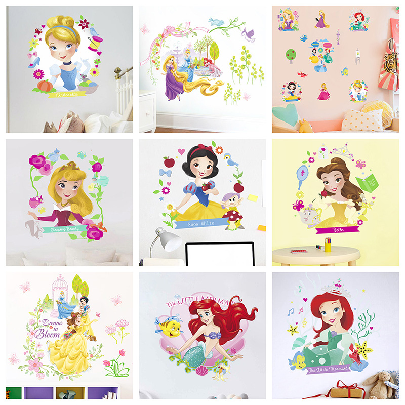 20 30cm cartoon snow white princess wall stickers for kids rooms home decor disney wall decals pvc mural art diy wallpaper in Wall Stickers from Home Garden