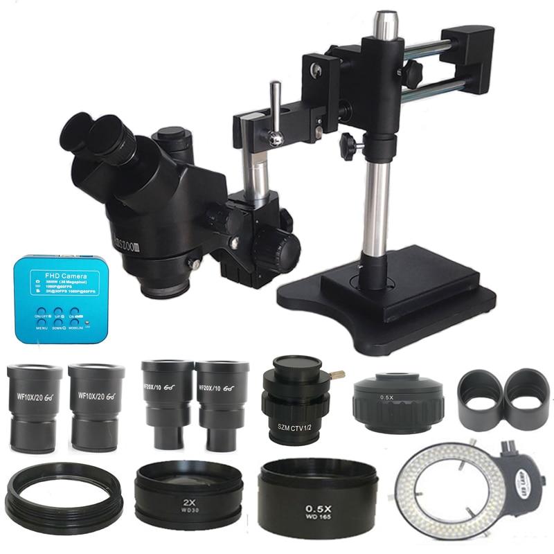 3 5X-90X Double Boom Zoom Simul Focal Trinocular Stereo Microscope 38MP HDMI-Comp USB  Microscopio Camera Phone PCB Repair Tools