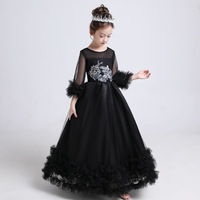 Black Children Chinese wedding Cheongsam Dress Girl China qipao Kids Princess Party Evening Dresses Winter prom Gown Costume