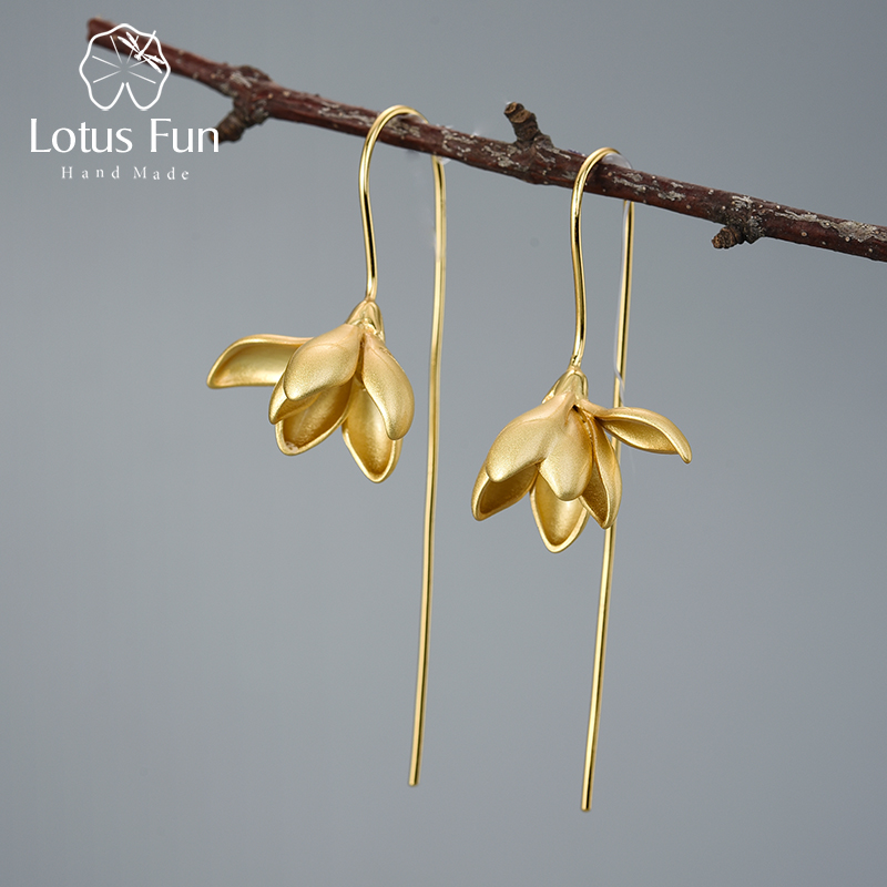 Lotus Fun 18K <font><b>Gold</b></font> <font><b>Elegant</b></font> Magnolia Flower Dangle <font><b>Earrings</b></font> Real 925 Sterling Silver Designer Fine <font><b>Jewelry</b></font> <font><b>Earrings</b></font> for Women image