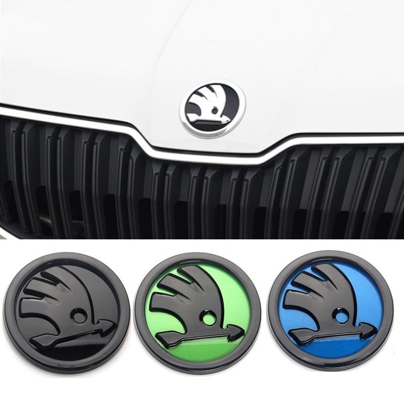 80mm 90mm ABS Emblem For Skoda  Fabia 1 2 Octavia A7 RS Superb Rapid Yeti Karoq Vision Car Head Front Rear Boot Tailgate Sticker