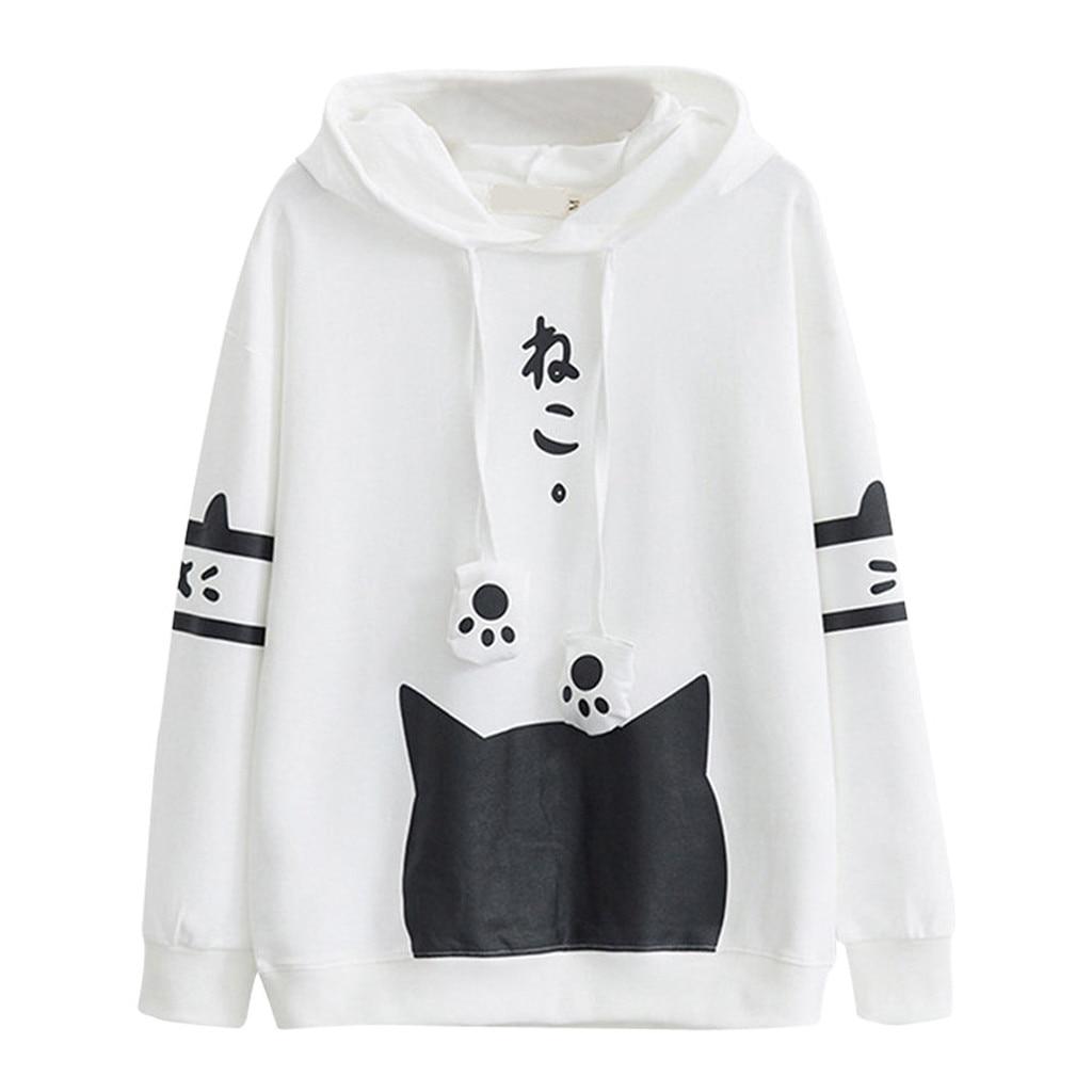 Oversized Cute Hoodies Women Autumn Winter 2019 Korean Streetwear Casual Cat Printed Pocket Pullover Sweatshirt Sudadera Mujer