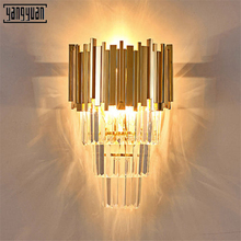 Modern Bedside LED Wall Lights Sconce Lamp Luxury Golden Crystal Light Fixtures Living Room Bedroom