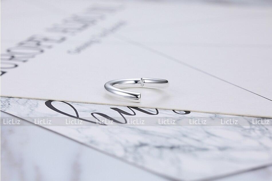 H61eb86dc04c245bc9a5da2038b92312b2 LicLiz 2019 925 Sterling Silver Big Open Adjustable Ring for Women Men Plain White Gold Jewelry Joyas de Plata 925 Bijoux LR0329