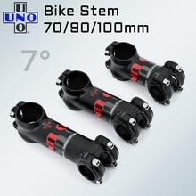 Uno stem bicicleta 7 graus ultraleve mtb estrada stem garfo 28.6 25.4mm 70/90/100mm montanha mtb bicicleta kalloy haste de alumínio