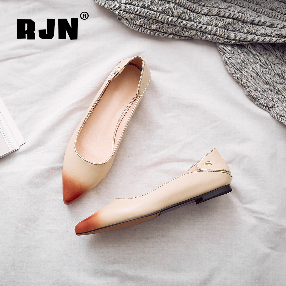 Buy RJN Unqie Design Flats Gold Edge Matel Decoration Handmade Cow Leather Pointed Toe Square Heel Slip-On Shoes Women Flats RO55
