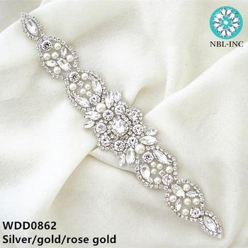 (1PC) Silver rhinestone bridal belt wedding applique with crystal dress accessories sash for WDD0862 - discount item  9% OFF Wedding Accessories