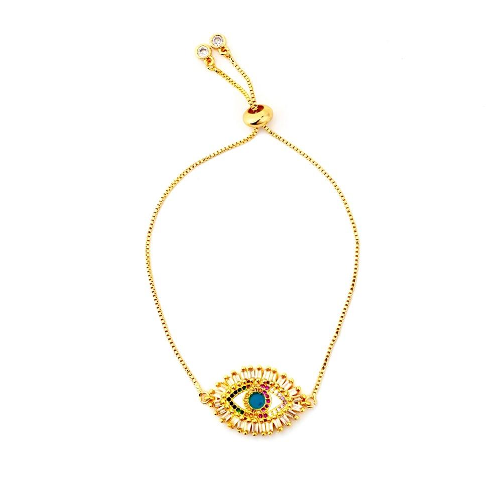 Hot Gold Zirconia Bracelet&bangle Women's Rainbow Shell Bracelet Luxury Adjustable heart Evil Eye Snake Chain Bracelet 1