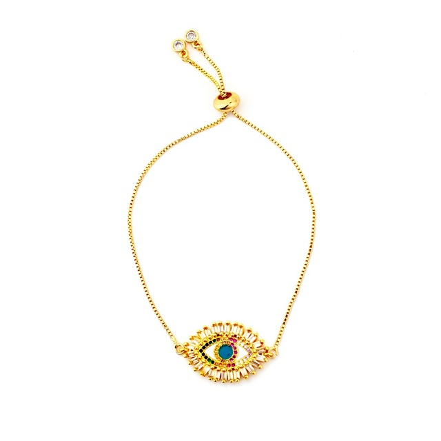 Hot Gold Zirconia Bracelet Bangle Women's Rainbow Shell Luxury Adjustable Heart Evil Eye Snake Chain 1
