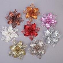 Искусственные Рождественские цветы, рождественская елка, красочные украшения, цветы с блестками, сделай сам, домашнее, свадебное, Рождественское украшение, цветок