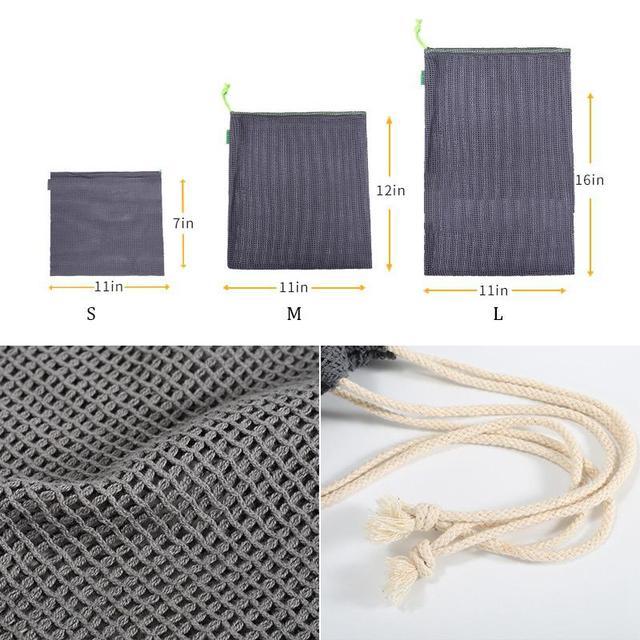 9pcs Reusable Produce Bags Cotton Mesh Produce Shopping Bag Set Organic Eco Friendly Washable Storage Bags for Fruit Vegetables 2
