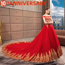 OllyMurs Red Luxury Wedding Dress Ball Gown Cathedral Boat Neck Golden Back Lace Up  Embroidery Applique Free Custom Made Size crayfish embroidery zip up back dress