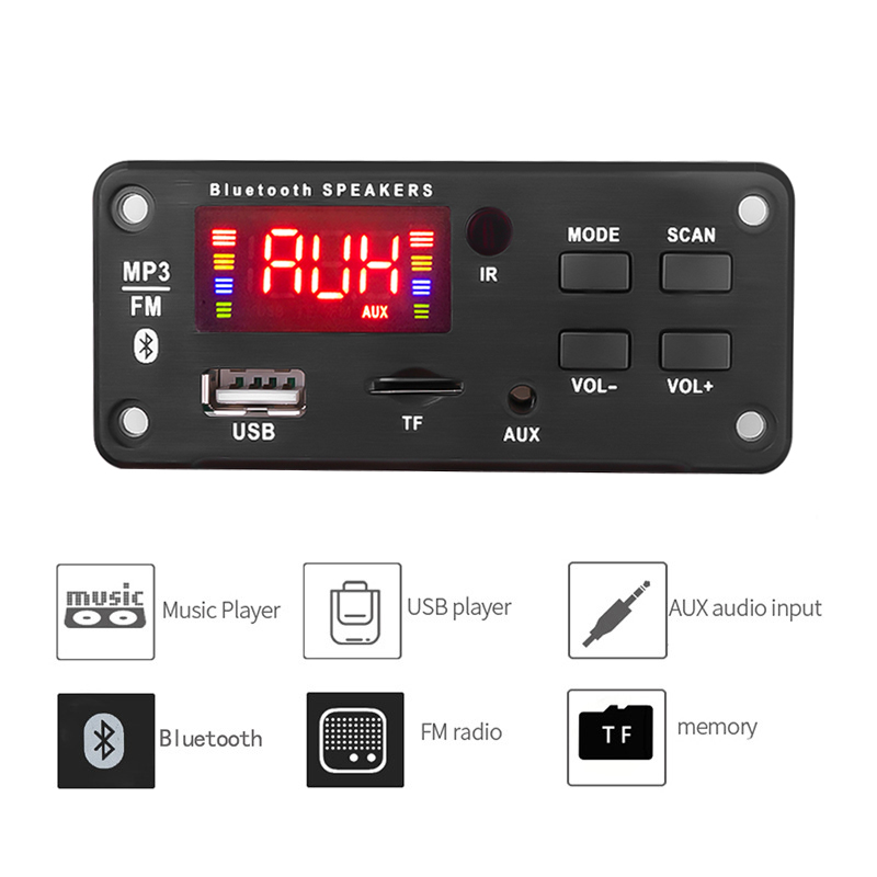 Wireless <font><b>Bluetooth</b></font> 5.0 <font><b>MP3</b></font> WMA Decoder Board USB TF <font><b>FM</b></font> Radio 5V 12V <font><b>MP3</b></font> Player Music Audio Receiver <font><b>Module</b></font> For Car Accessories image