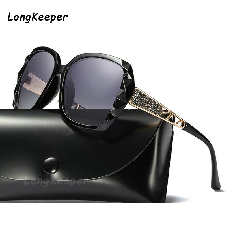 Классические поляризованные женские солнцезащитные очки, брендовые дизайнерские сверкающие солнцезащитные очки для женщин, большие очки ...