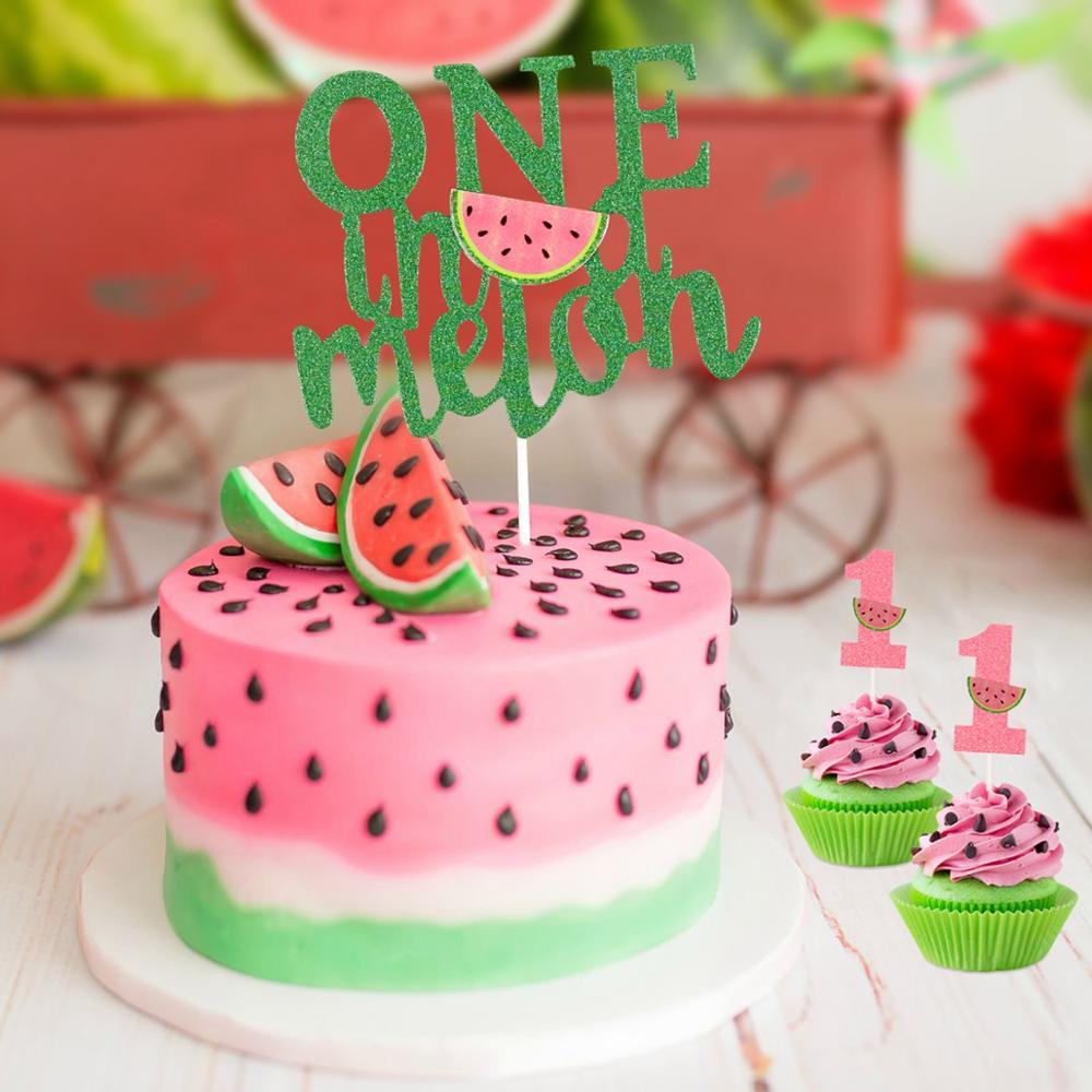 Frigg Summer Fruit Theme Watermelon PartyMelon Banner Baby One Year Birthday Latex Ballons Watermelon Cake Topper Babyshower