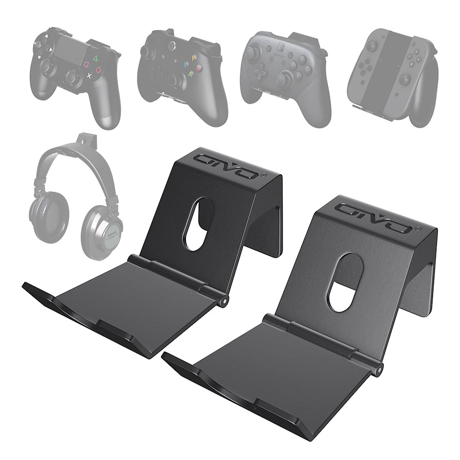 OIVO 2 Pack Wall Mount Game Controller Stand Holder for PS4 Controller Headphone Holder Universal Foldable Design Gamepad Holder(China)