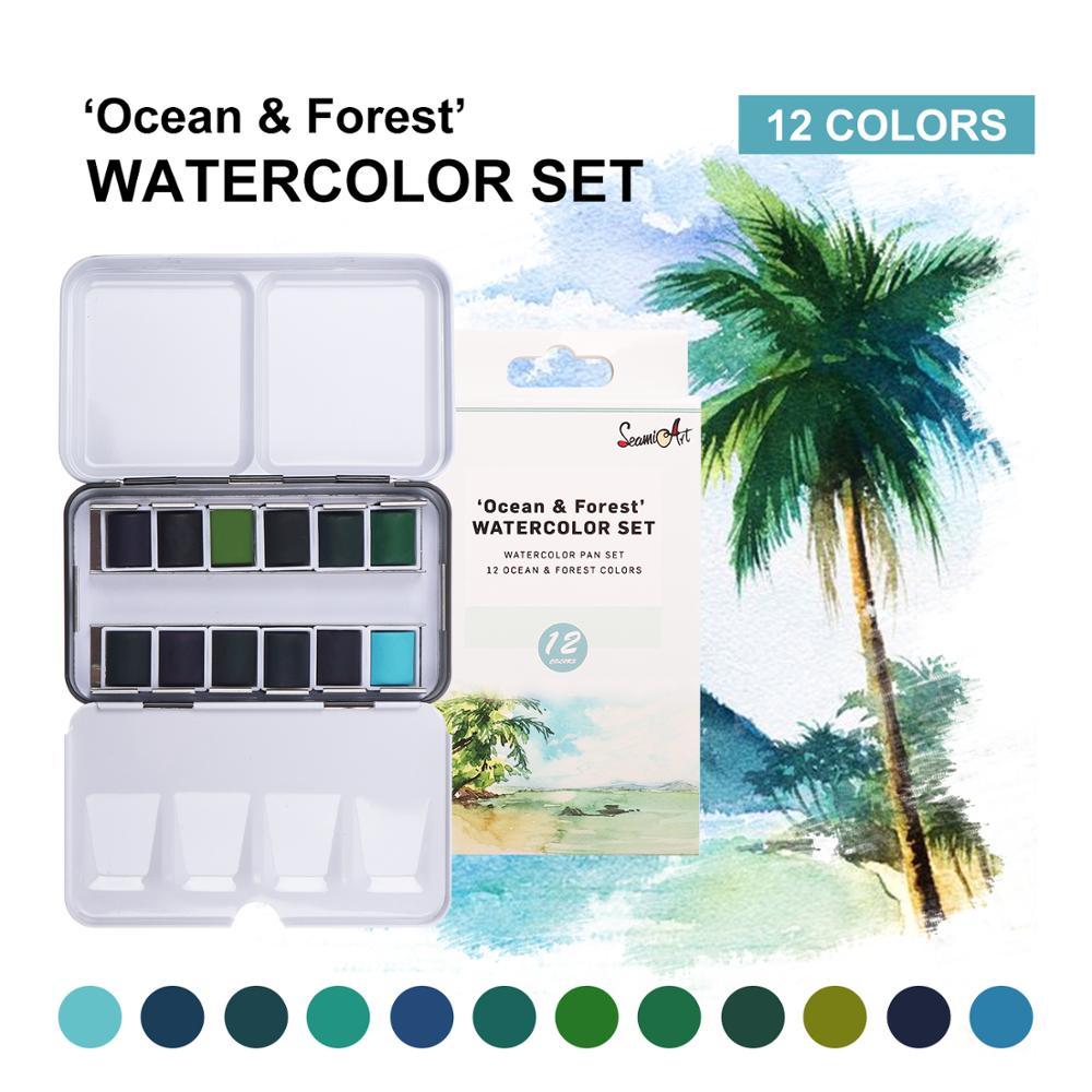 SeamiArt краска для воды однотонная прозрачная Acuarelas для путешествий ручная учётная запись краска для воды товары для рукоделия
