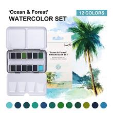 SeamiArt Watercolor Paint Solid Transparent Acuarelas Travel Hand Account Water Color Painting Illustration Art Supplies