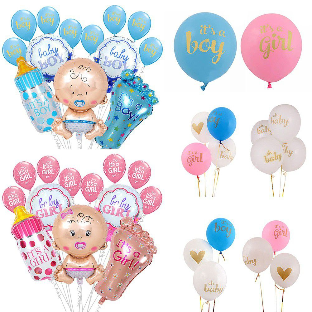 """Baby Shower GENDER REVEAL 18/"""" Foil Balloons Bow or Bow Tie Girl Boy NEW"""