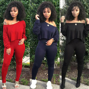 Women Sets Women Red Black Yellow 2 pcs Sweatsuit Cotton Summer Pullover Suits Women outfit Two Piece Tracksuits(China)