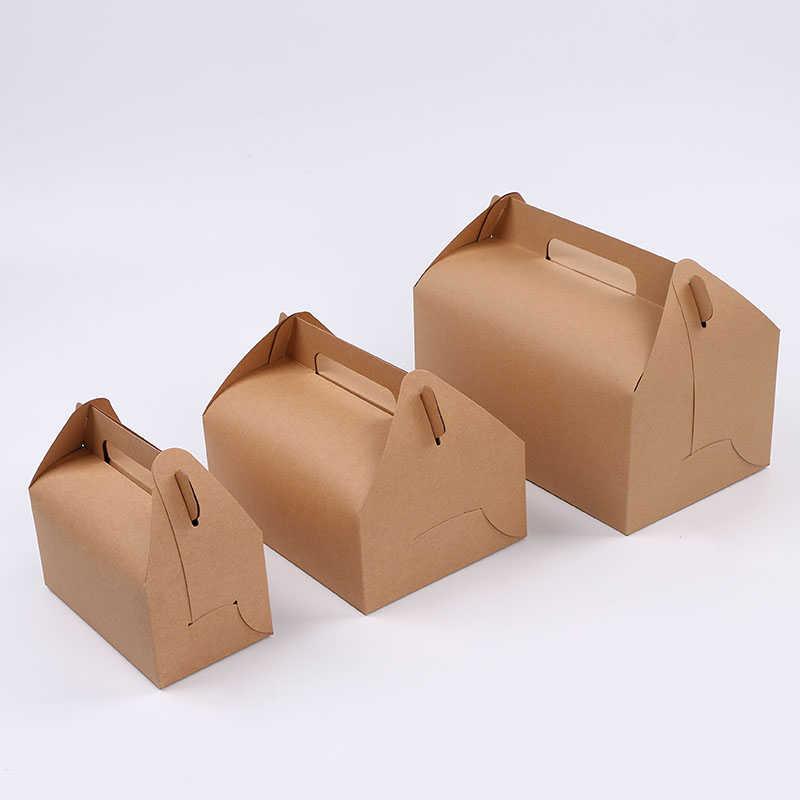 Lbsisi Life 10 Pcs Kue Makanan Kraft Kertas Kotak dengan Menangani Kotak Natal Ulang Tahun Pesta Pernikahan Permen Hadiah dengan stiker