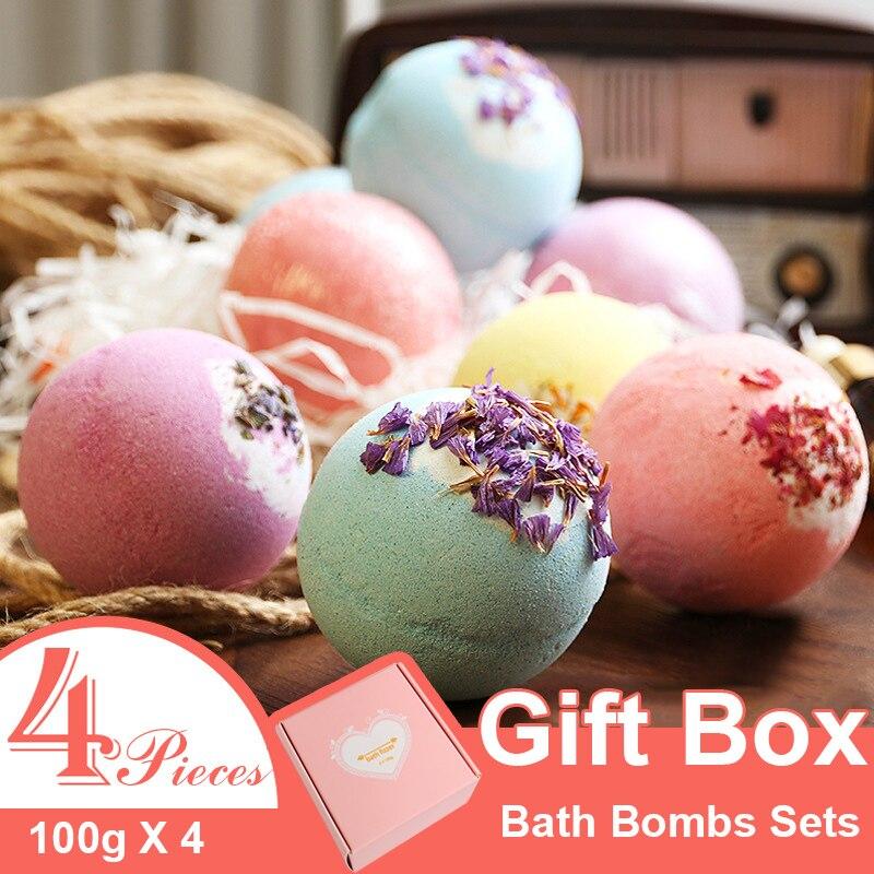 Eyes Dancing 4pieces Spa Bath Bombs Gift Set Bath Salt Soap Bombs Essential Oil Bath Fizzer Rose Smell Shower Product
