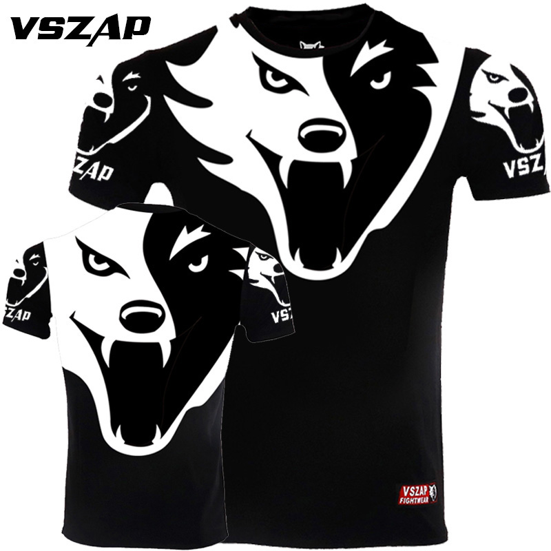 VSZAP Taekwondo Men Fitness Tshirt TKD Sports Training Fighting Wulin Muay Thai MMA Competition UFC Fighting Performance Costume