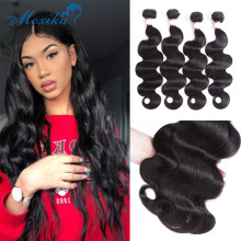 Moxika Peruvian Hair Weave Body Wave Hair L 3/4 Bundles Deals Double Remy Human