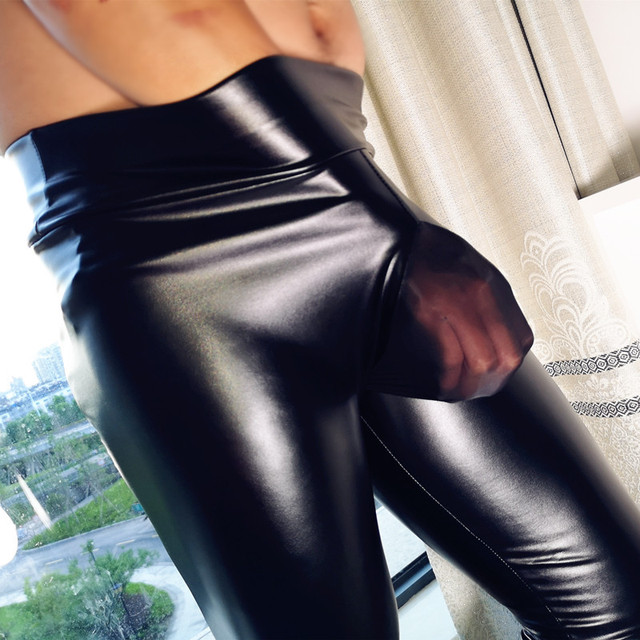 Mens Fad Punk Elastic Tight Trousers PU Faux Leather Glossy Stage Pencil Pants Sexy Clubwear Gay Club Dance Wear Velvet Legging 5