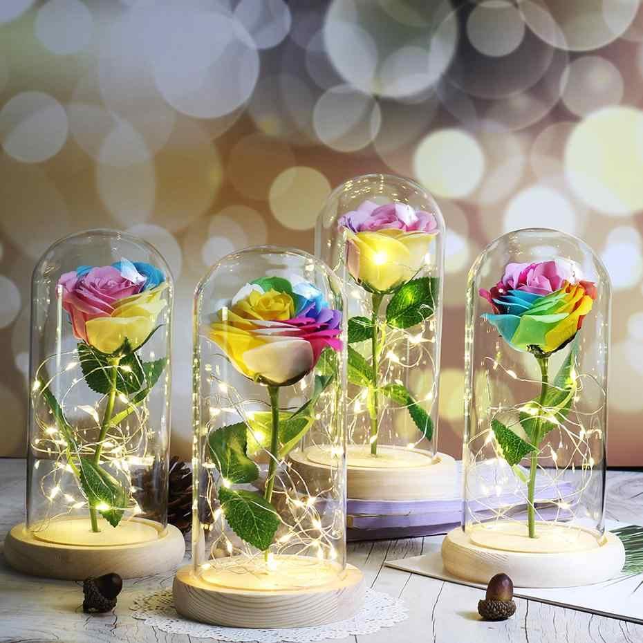 Beauty And The Beast Rose LED Bunga Buatan Pernikahan Terpesona Rose Di Kubah Kaca Hadiah Natal Hadiah Ulang Tahun untuk Pacar