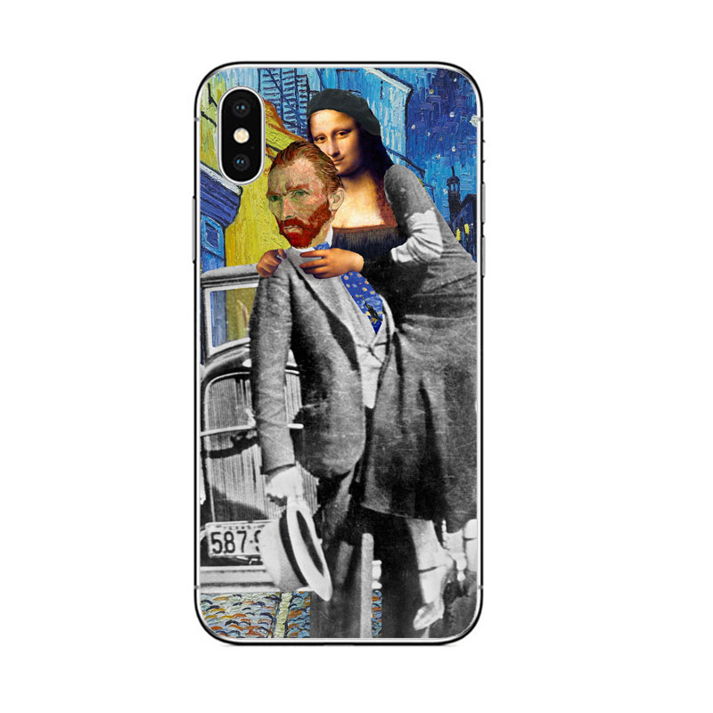 Mona Lisa Van Gogh Phone Case Art Paint Pattern Print for iphone X XR XS MAX 8 7 6 5 6S 5S SE PLUS soft TPU Silicone Cases Cover in Half wrapped Cases from Cellphones Telecommunications