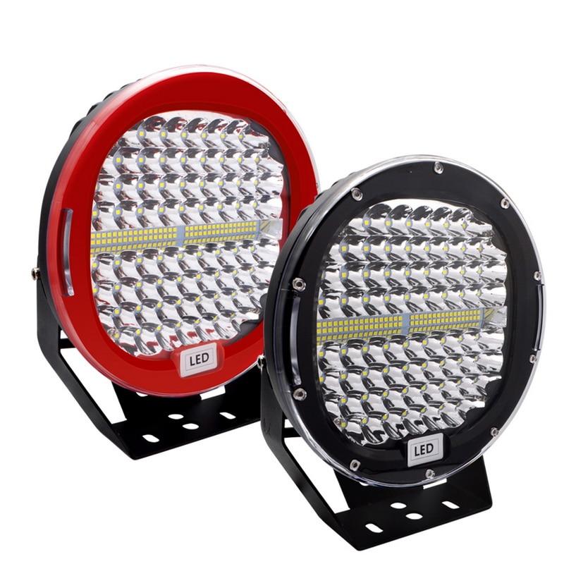 Safego, 2 шт., 9 дюймов, 408 Вт, светодиодный светильник, для автомобиля, точечный луч, для вождения, противотуманная фара, красный, черный, чехол для