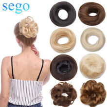 SEGO 23g 100% Real Human Hair Bundle Curly Hair Bun Scrunchies Updos Donut Chignon Hair Extensions Wrap Ponytail Remy Hairpiece(China)