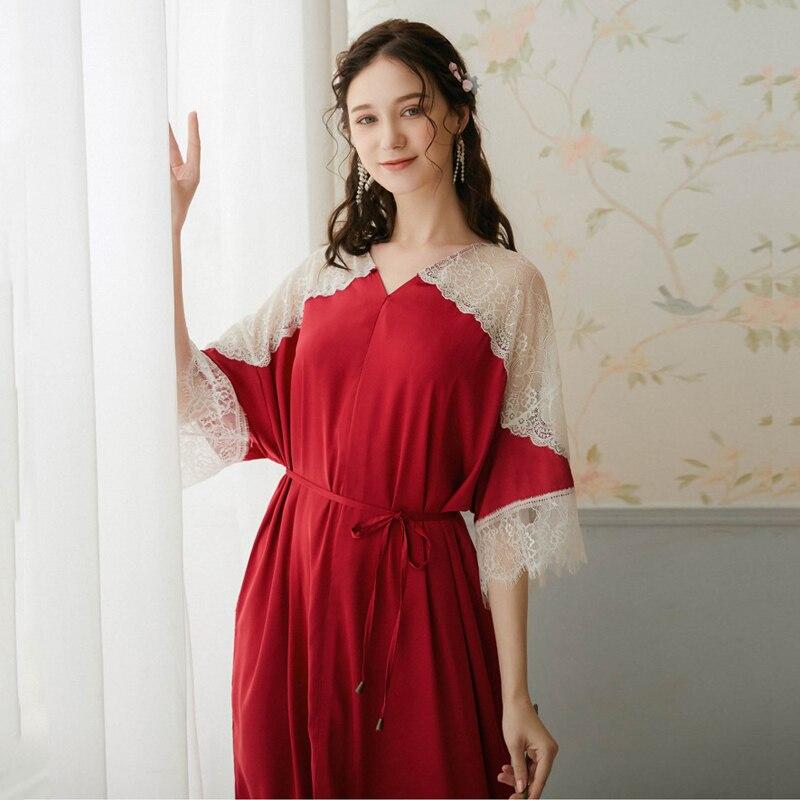 Roseheart feminino vermelho sexy sleepwear noite vestido longo rendas com decote em v de luxo pijamas homewear vestido