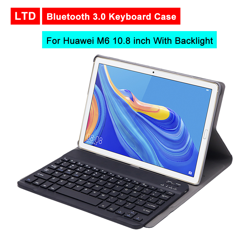 Bluetooth 3 0 Tablet Keyboard Case For Huawei M6 10 8 inch Mediapad PU Flip Leather Protective Cover Stand Holder With Backlight in Tablets e Books Case from Computer Office