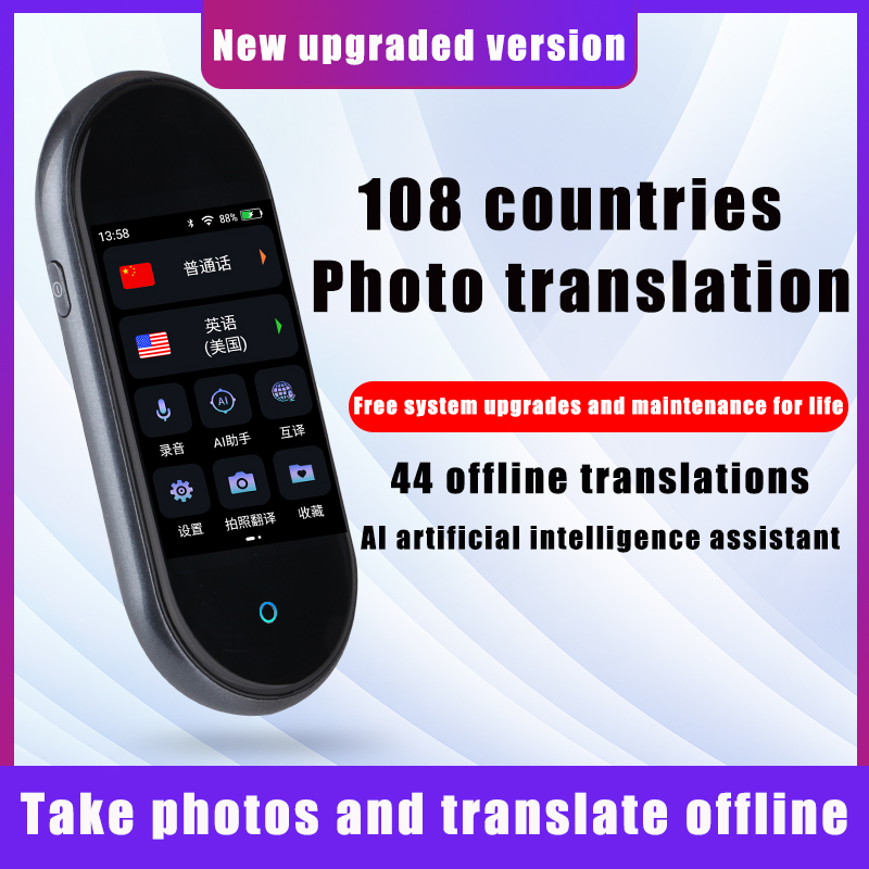 MiGueR Por 8 Voice Translator 108 Languages 3.0 IPS Touch Screen Dual Speakers 12.0MP Photo Translate Stock