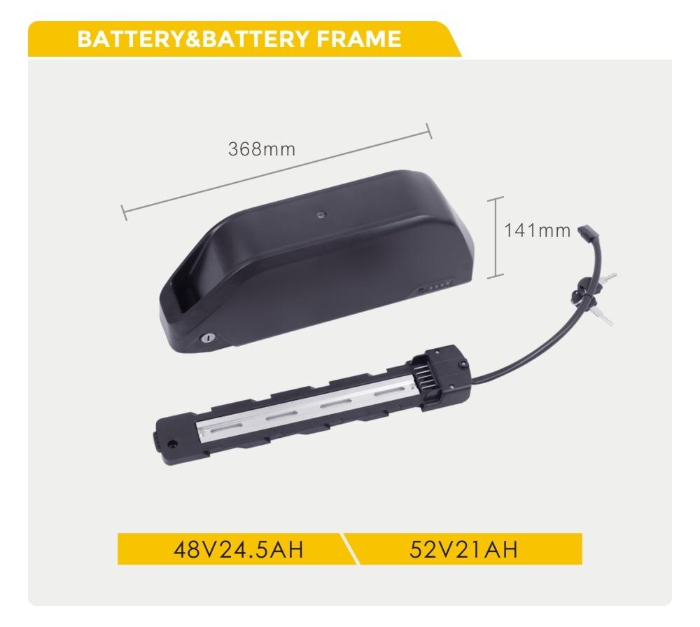 v bateria 52v bateria para baixo tubo