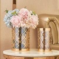 Vases For Flowers Glass Metal Flower Vases Decoratives Tabletop Vase Wedding Decoration Home Office Decorations