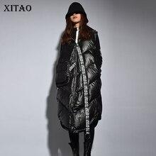 XITAO Streetwear Mode Nieuwe Vrouwen 2019 Winter Turn down Kraag Volledige Mouw Vest Vrouwelijke Patchwork [pcker Brief Vest ZLL2158