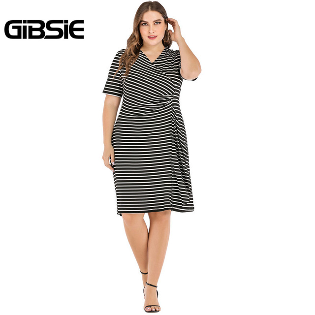 GIBSIE Plus Size V-Neck Short Sleeve Striped Ruffles Midi Dress Women Summer Casual OL High Waist Female Slim Bodycon Dresses 1