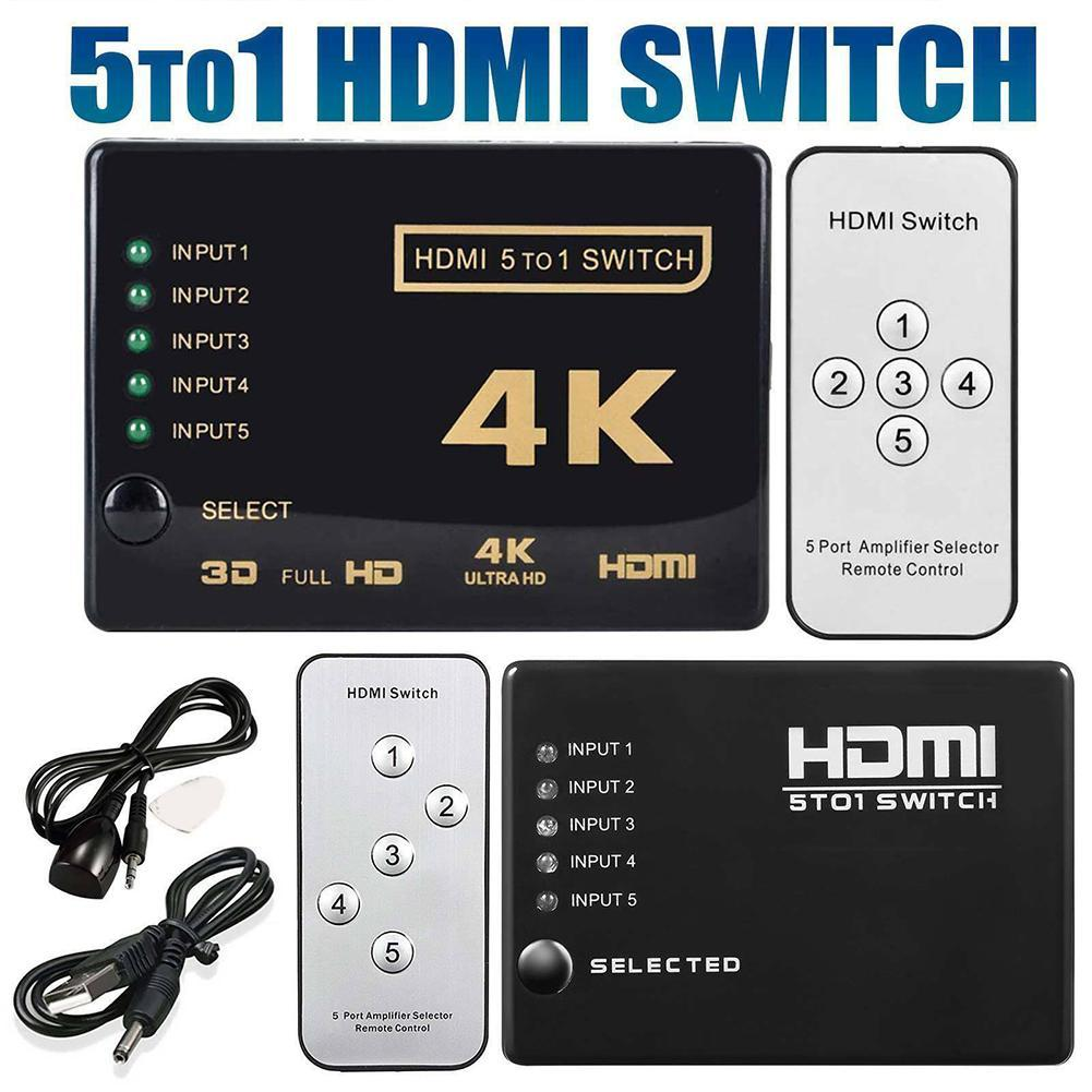 5 Ports HDMI HUB HD 2K*4K 1080P Video HDMI Switch Switcher Splitter With IR Remote Splitter Selector For HDTV DVD Laptop For PS3