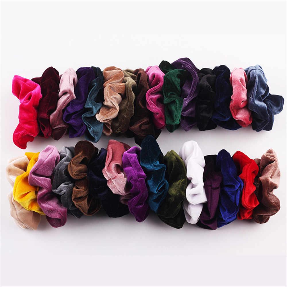 40 renkler kore kadife saç Scrunchie elastik saç lastik bantlar kadın kızlar şapkalar saç halka at kuyruğu tutucu saç aksesuarları