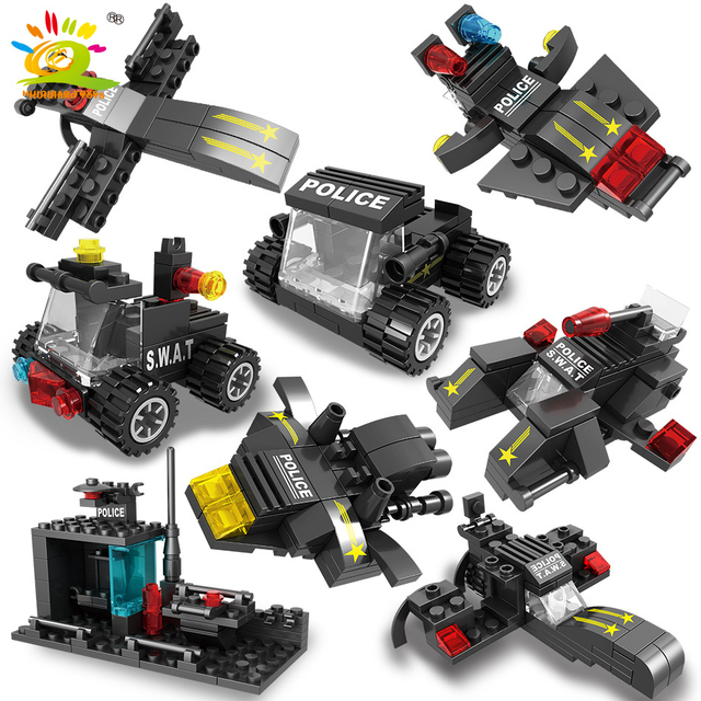 HUIQIBAO 418PCS 8in1 City SWAT Police Command Trucks Building Blocks Policeman Car Helicopter model bricks Toys for Children