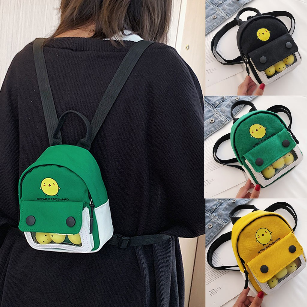 MAIOUMY Cartoon Chick Backpack Women Cute Animal Ladies Casual Canvas Bags Girls Clean Student Backpack Colorful free-shipping(China)