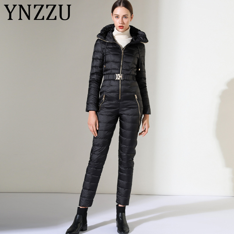 YNZZU 2019 Winter Duck Down Jumpsuits Ski Suit Women Mountain Skiing Overalls Slim Super Warm Ski Jacket + Snowboard Pants AJ040