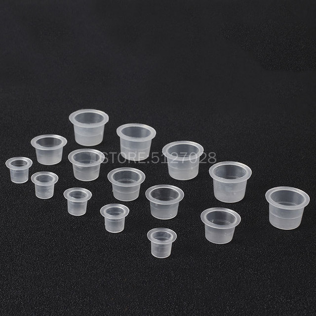 100Pcs Plastic Microblading Tattoo Ink Cup Cap Pigment Clear Holder Container S/M/L Size For Needle Tip Grip tattoo supplis 2
