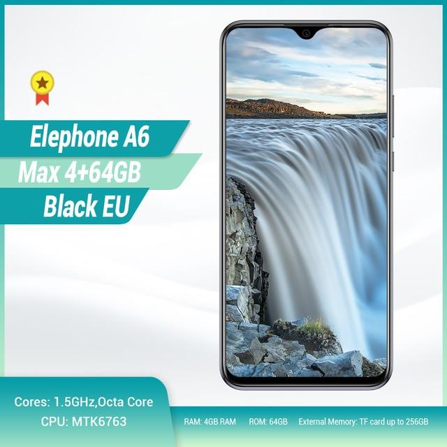"Elephone A6 最大 4 3g スマートフォン 6.53 ""ドロップノッチスクリーンアンドロイド 9.0 4 ギガバイト 64 ギガバイト MT6762V クアッドコア 20MP カメラ OTG NFC 携帯電話"