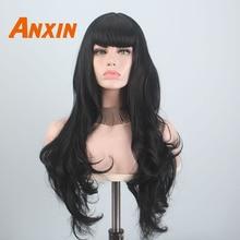 Anxin długie czarne peruki dla czarnych kobiet fala włosy z Bangs syntetyczny naturalny kolor czarny blond żółty na imprezę Cosplay peruka