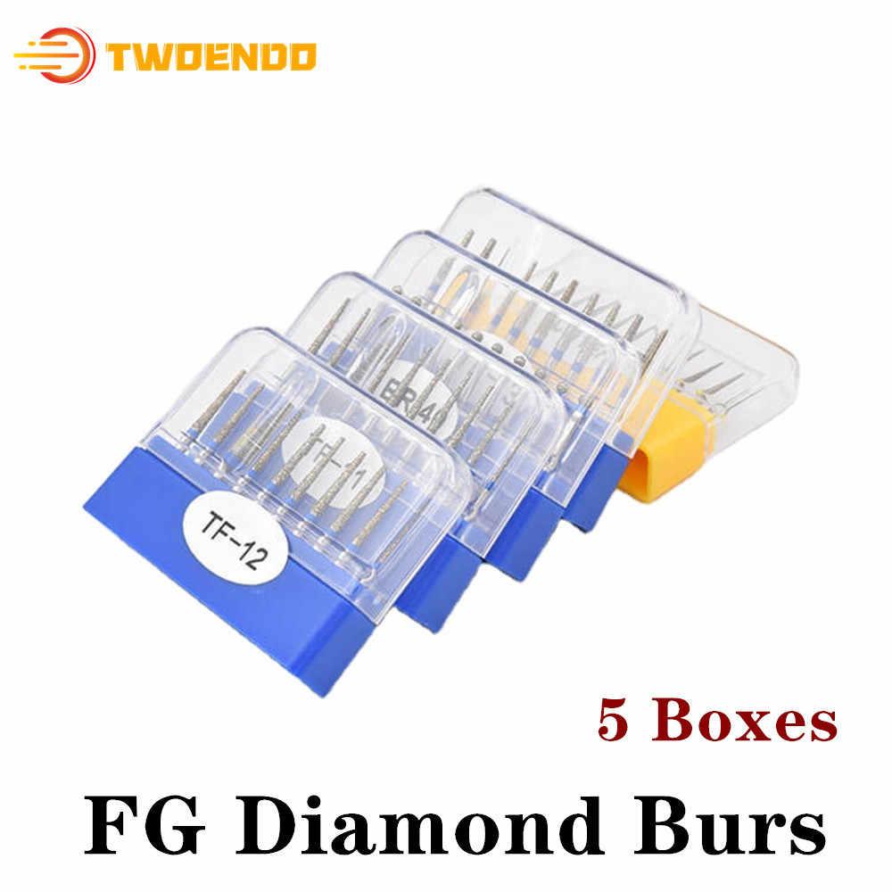 50pcs 1.6mm Dental FG Diamond Bur Drill for High Speed Handpiece Dentist Set